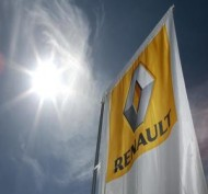 A Renault car company logo is seen outside an automobile dealership in Nice